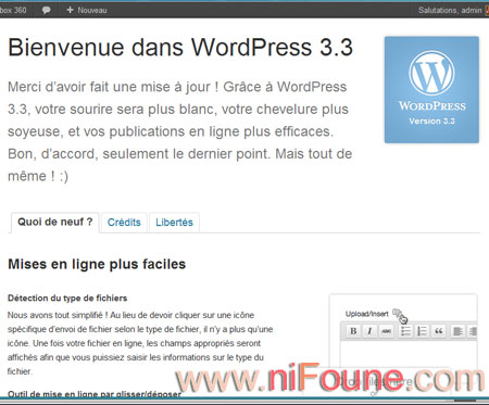 worpress 3.3 installé