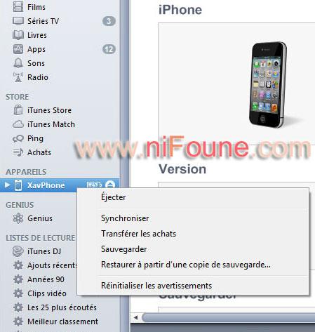 sauvegarde iphone