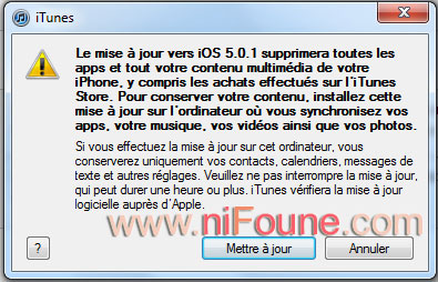 attention mise a jour iphone