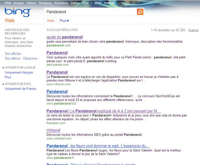 classement pandaranol sur bing