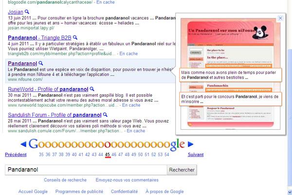 google et le pandaranol